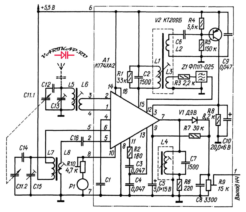 Блок ВЧ-ПЧ на К174ХА2