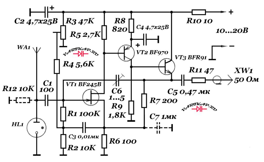 Активная антенна 0,1-30 мгц