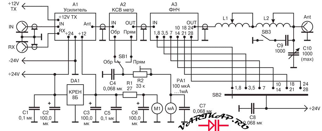 блок схема подключения усилителя