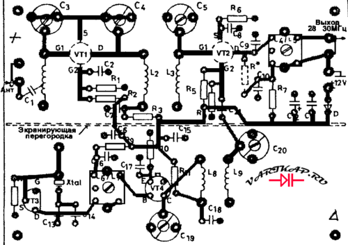Схема размещения деталей конвертер диапазона 144…146Мгц