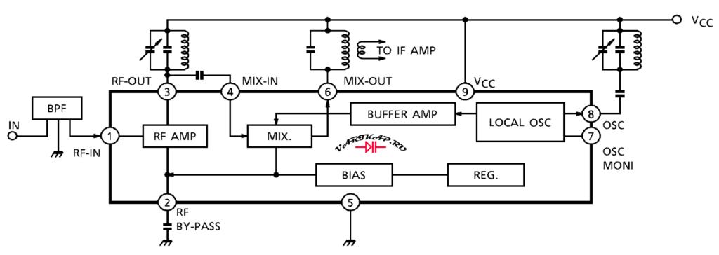 Типовая схема включения микросхемы ТА7358