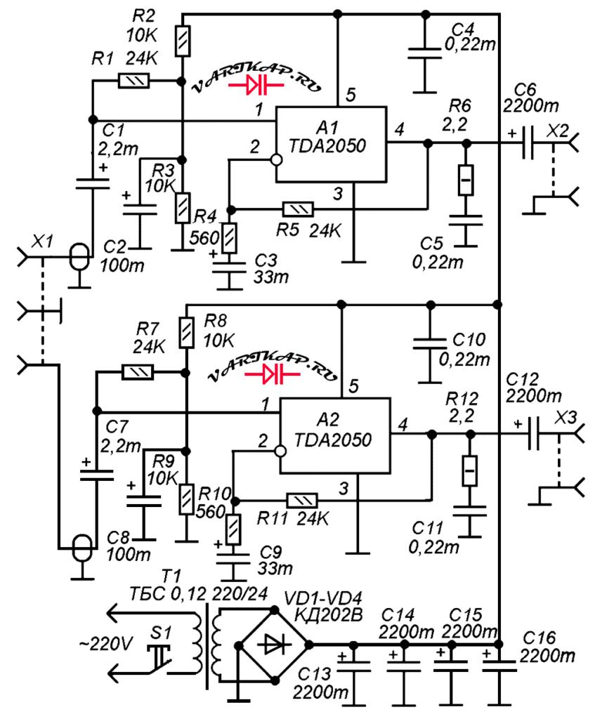 Стерео-УНЧ на микросхемах TDA2050