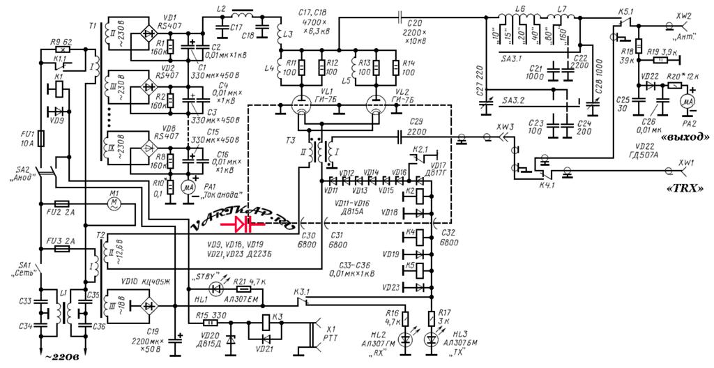 КВ усилитель мощности на ГИ-7Б