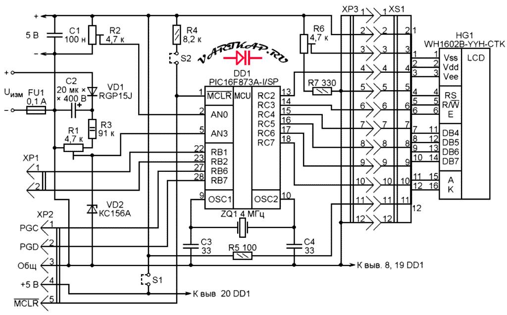 Принципиальная схема цифровой вольтметр 400В