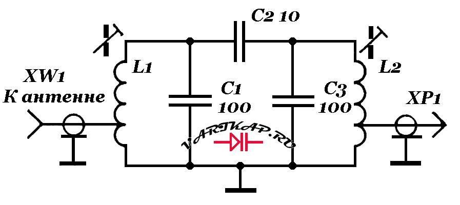 диапазонный фильтр с полосой частот 7,0...7,5 МГц