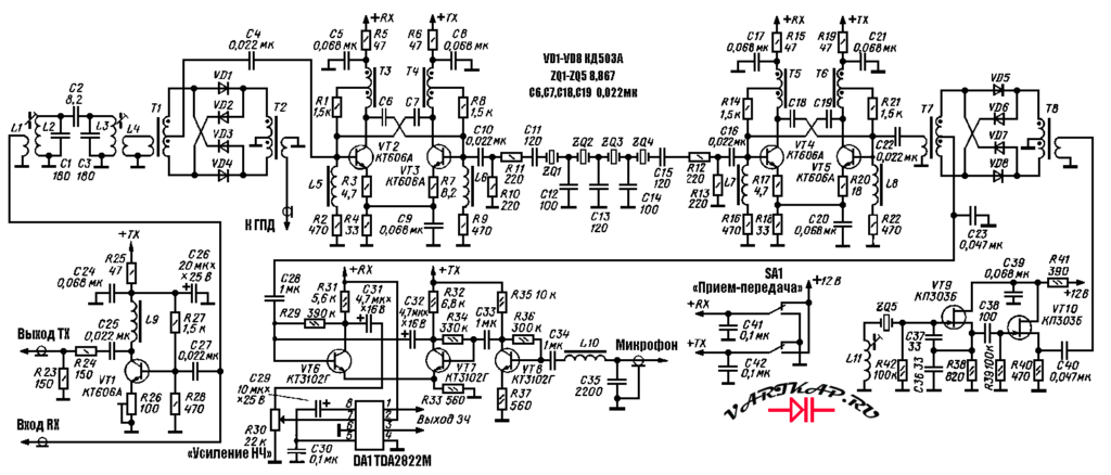 Приемопередающий тракт SSB трансивера