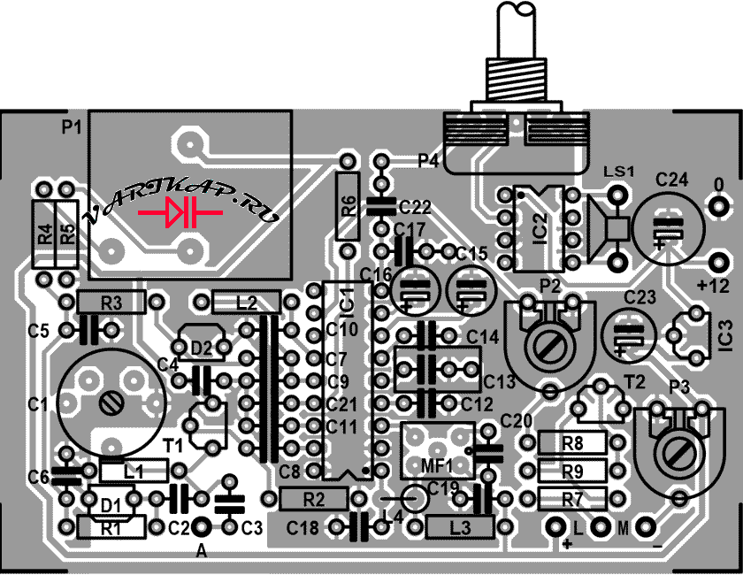 Коротковолновый радиоприемник сконструирован на печатной