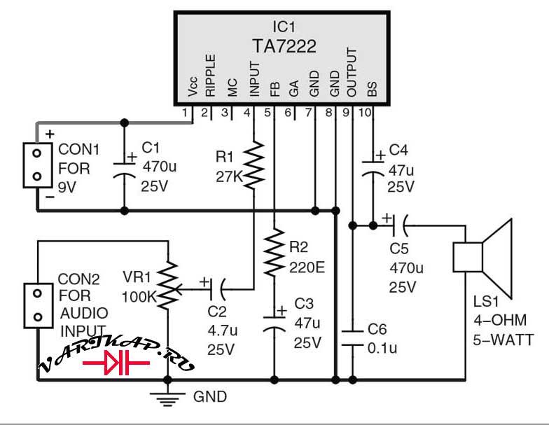 5 ватный усилитель на микросхеме TA7222