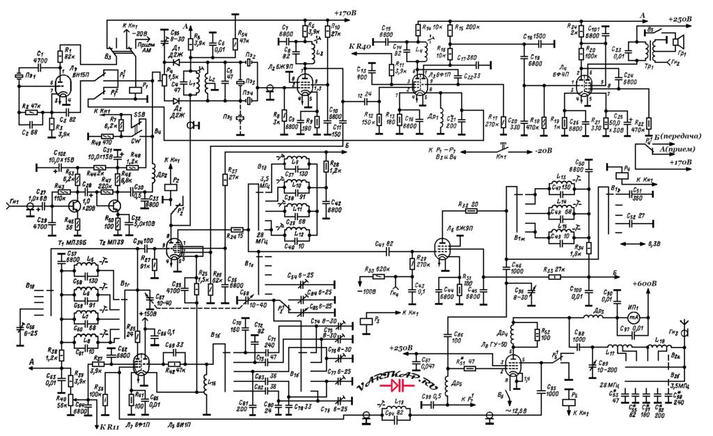 принципиальная схема трансивер начинающего коротковолновика