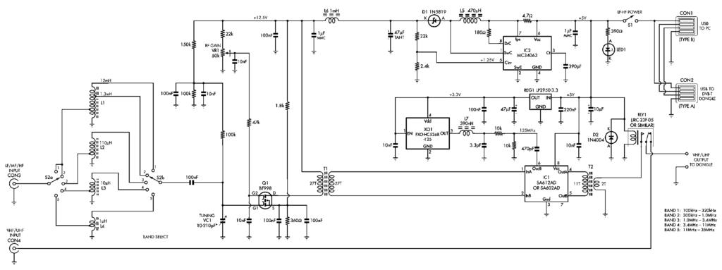 Полная схема SDR конвертер к USB DVB-T