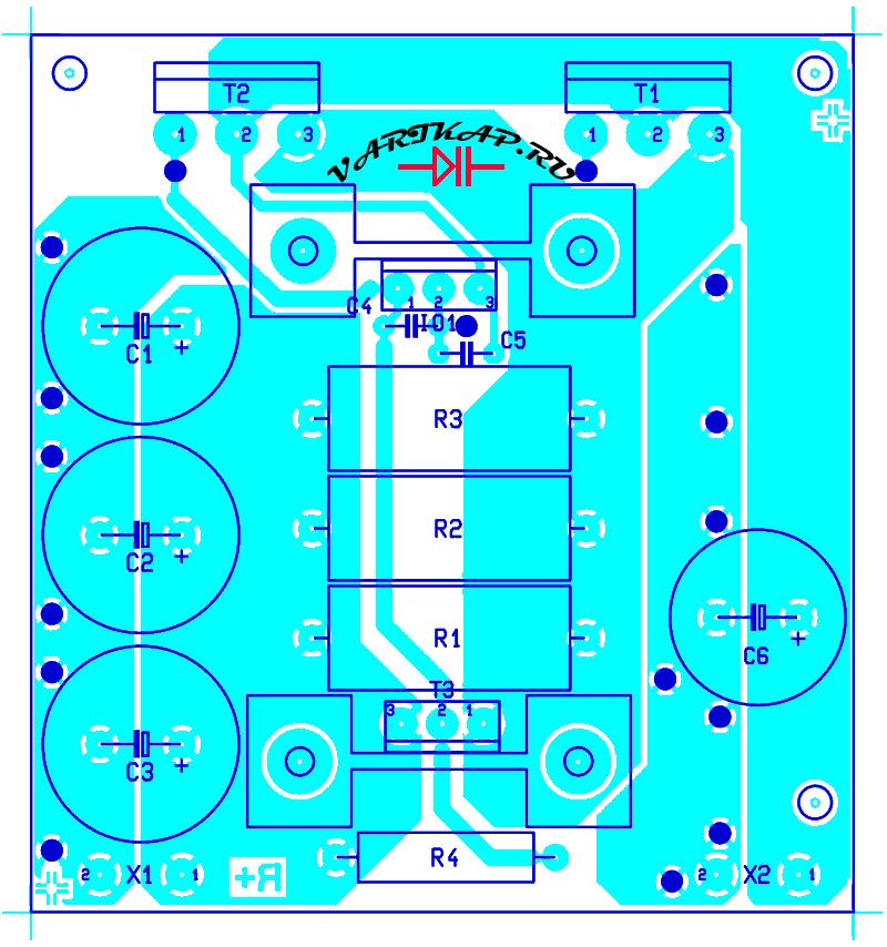 расположение компонентов на плате блок питания 20А с защитой