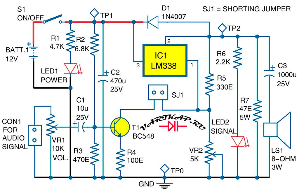 LM338 в качестве УНЧ