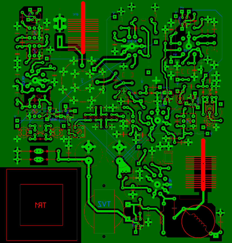 Печатная плата лампово-транзисторный трансивер