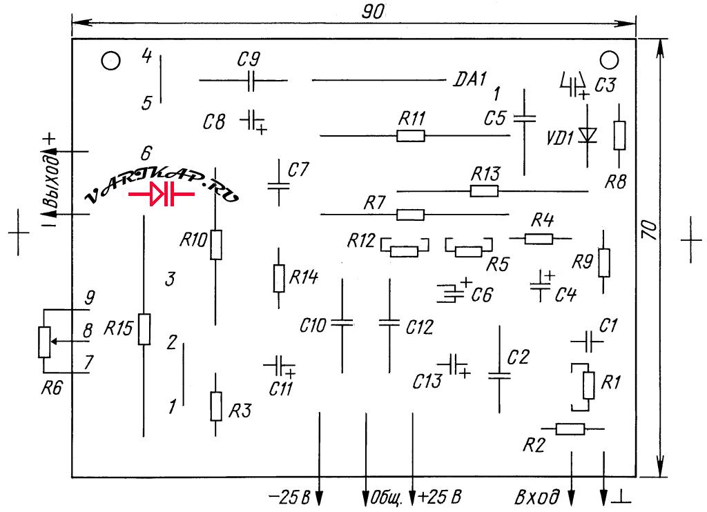 Расположение элементов на печатной плате
