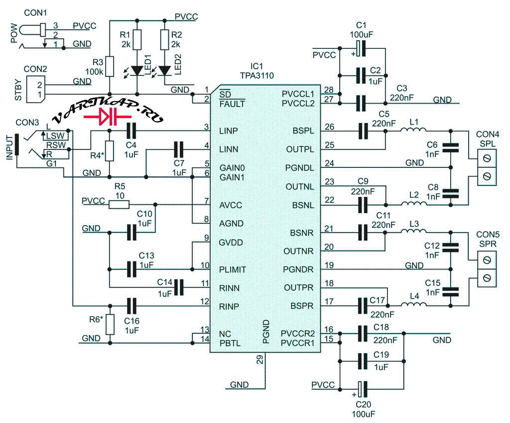 Усилитель с чипом TPA3110