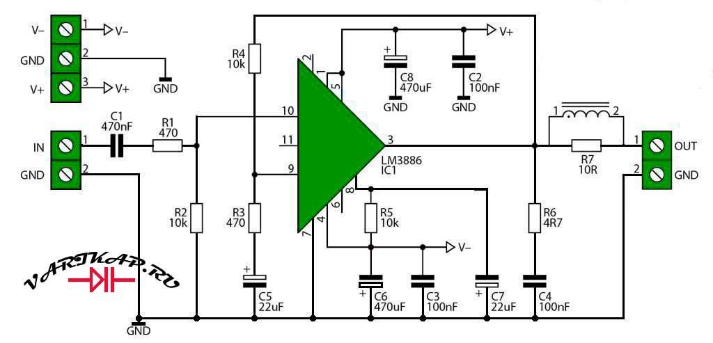 Усилитель мощности на LM3886