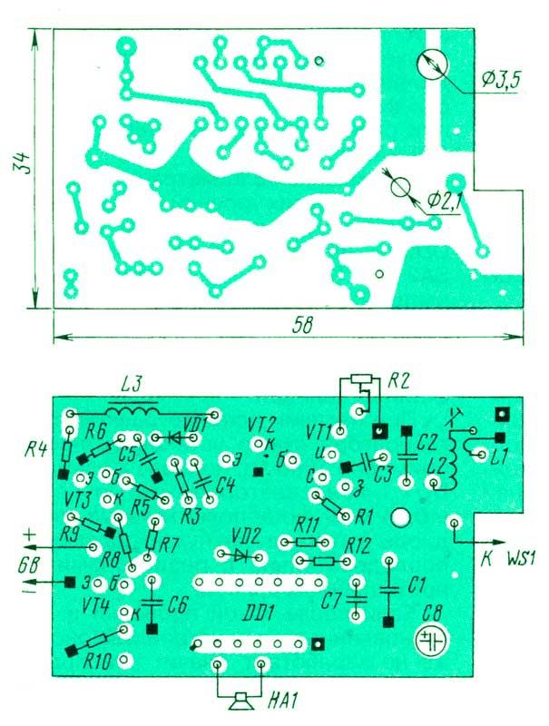 Индикатор радиоизлучения собран на печатной плате