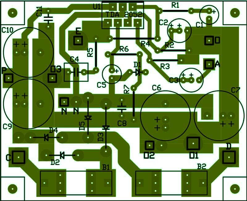 Печатная плата усилитель на микросхеме TDA2052