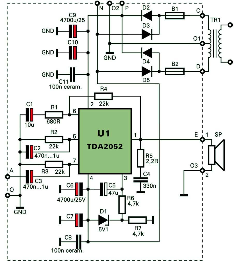 Усилитель на микросхеме TDA2052
