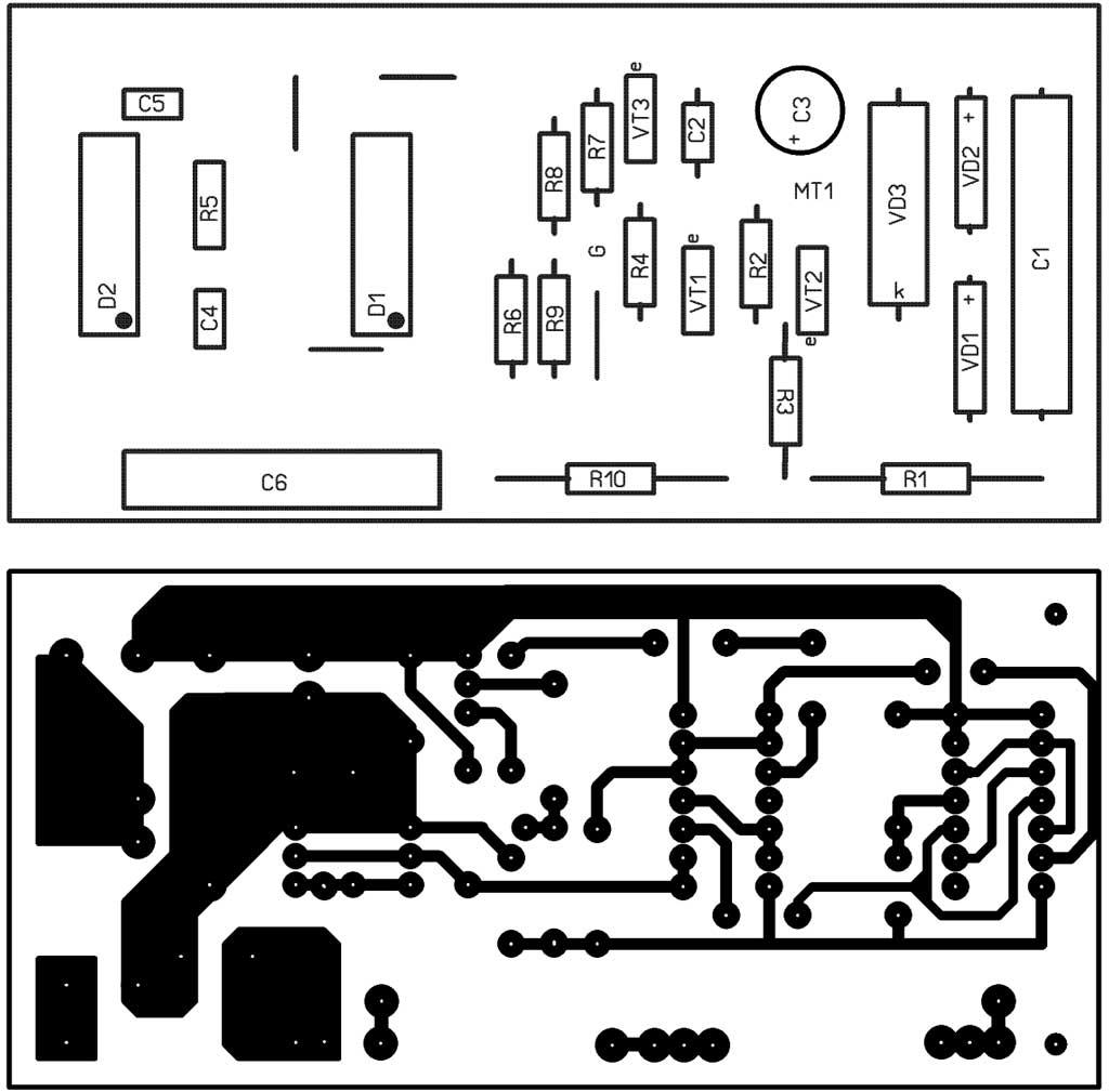 возможный макет печатной платы регулятор оборотов вентилятора