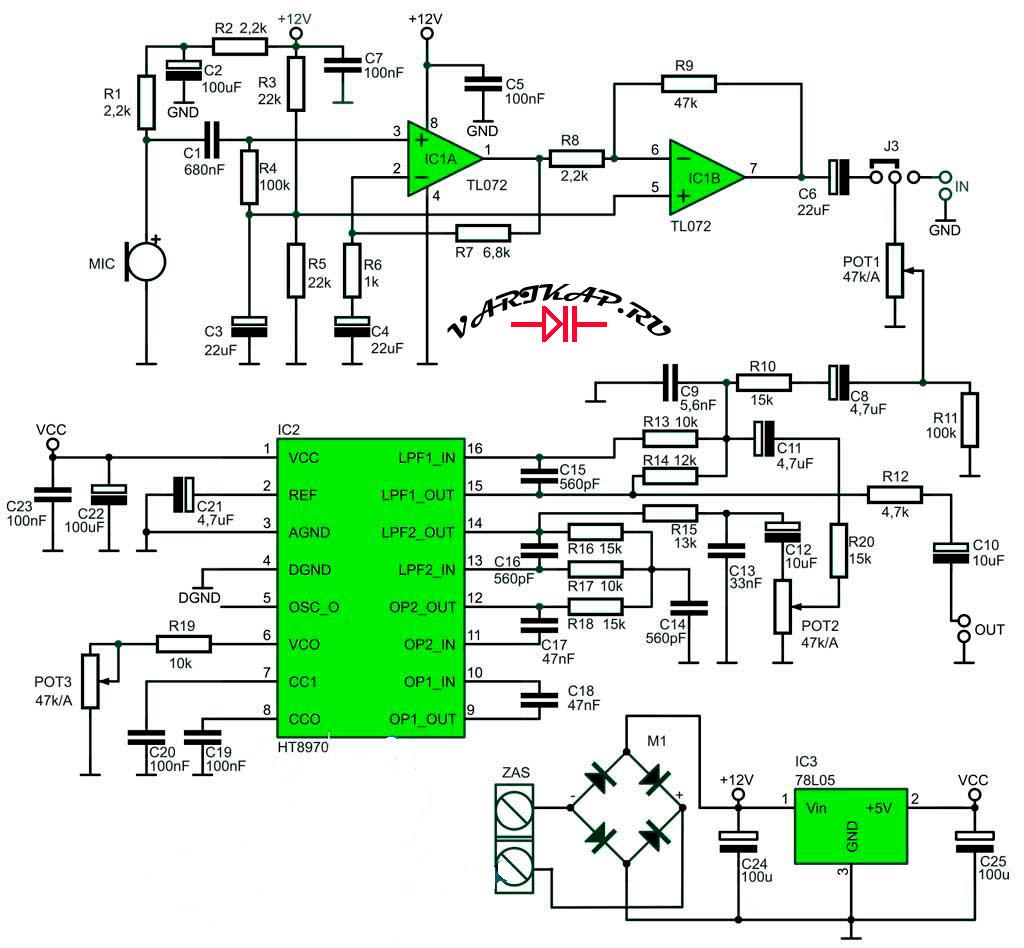 Электрическая схема цифровой ревербератор