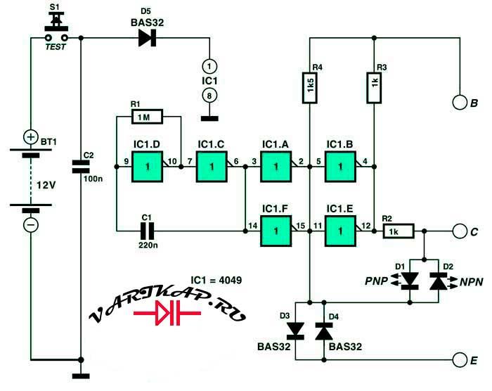 Принципиальная схема SMD Транзисторный тестер