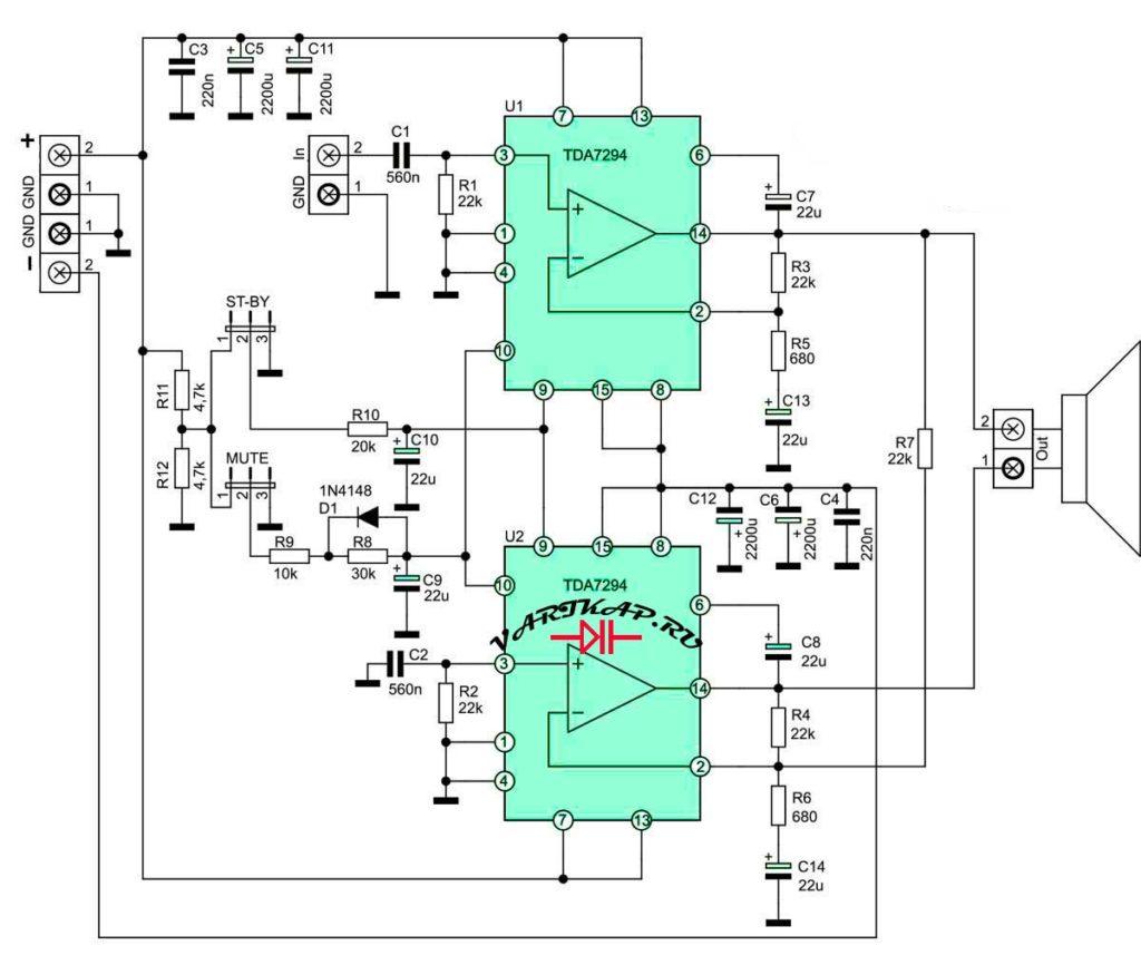 Принципиальная схема усилитель 150Вт на TDA7294