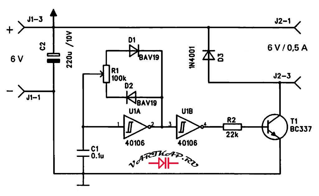 Принципиальная схема простой контроллер вращения двигателя