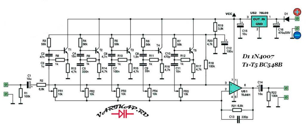 Принципиальная схема простой пятиполосный эквалайзер