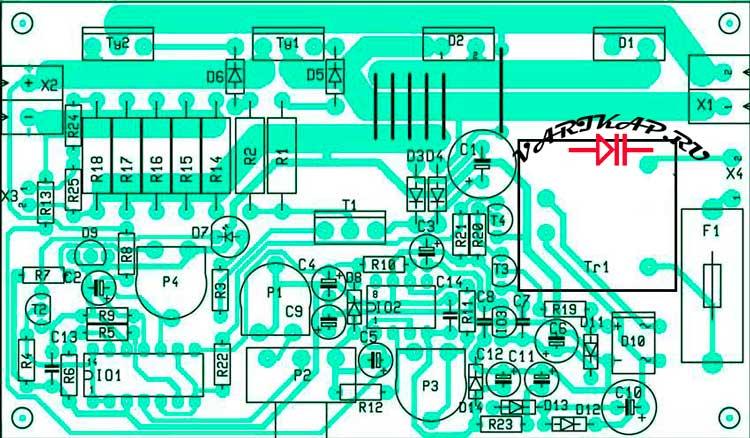 Печатная плата зарядное устройство для аккумуляторов