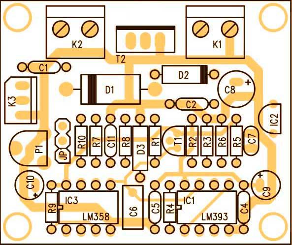 Расположение компонентов на печатной плате диммер для светодиодов