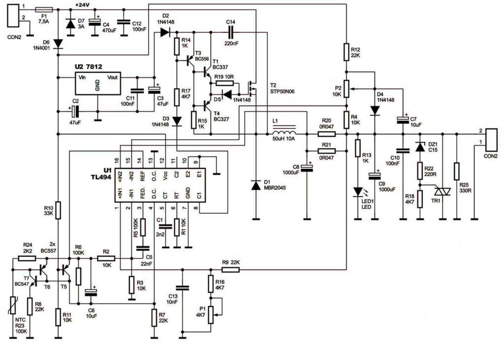 принципиальная схема импульсный стабилизатор на 12В 10-20А