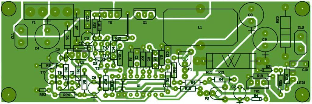 Печатная плата импульсный стабилизатор на 12В 10-20А