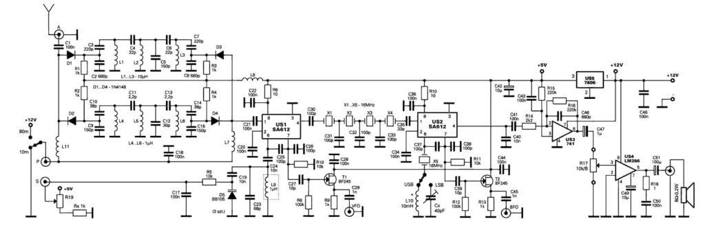 принципиальная схема радиолюбительский SSB приемник на 80 и 10 метров