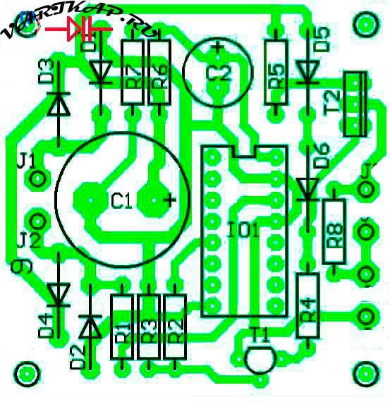 Расположение компонентов импульсное зарядное устройство никель-кадмиевых батарей