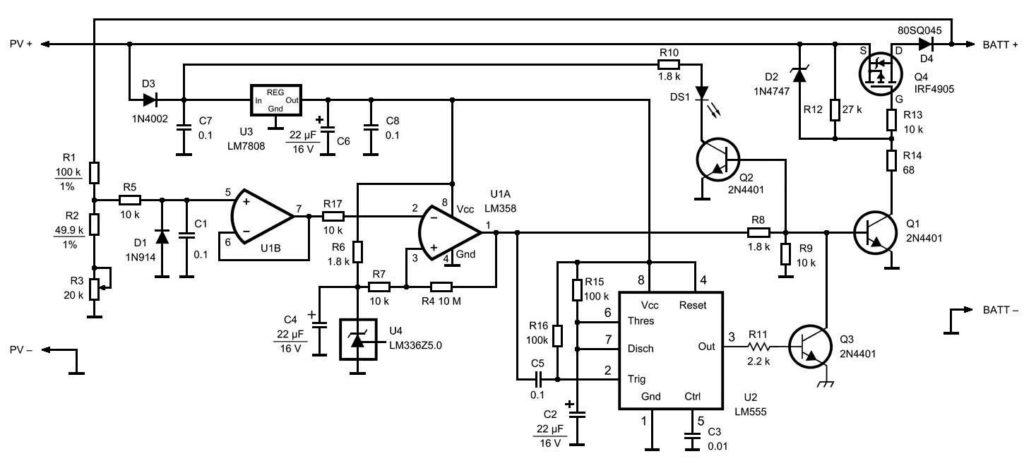принципиальная схема зарядное устройство от солнечных панелей