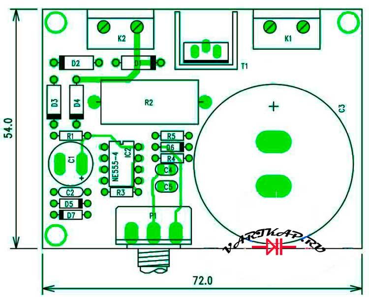 Расположение компонентов на печатной плате регулятор мощности с широтно-импульсной модуляцией