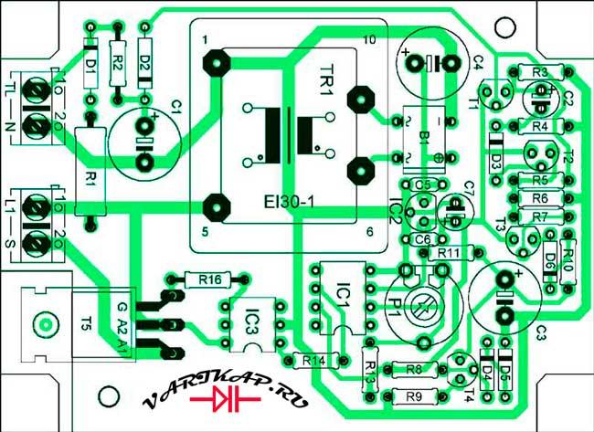 Расположение компонентов на печатной плате лестничный электронный переключатель