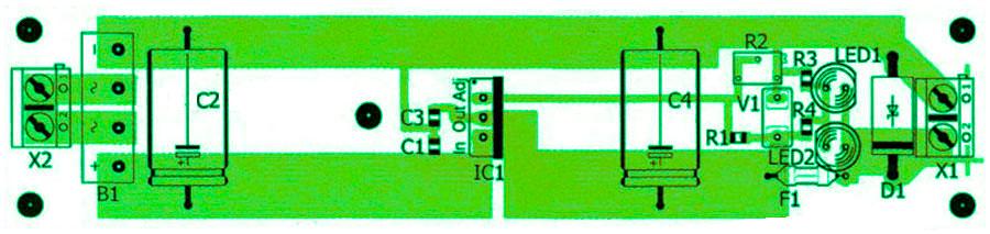 Расположение компонентов стабилизированный блок питания на 5 или 12В