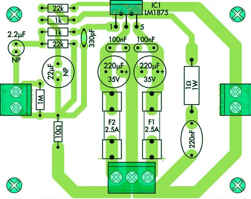 Расположение компонентов на печатной плате усилитель мощности на микросхеме LM1875T