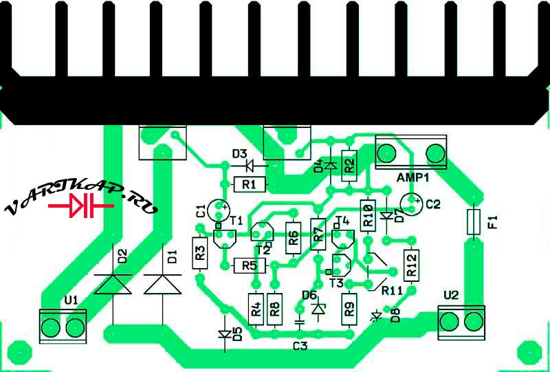 Расположение компонентов на печатной плате зарядное устройство на тиристорах