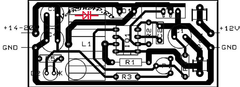 Расположение компонентов на печатной плате преобразователь напряжения 12-20В