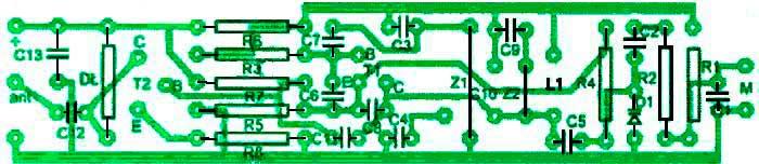 Расположение компонентов на печатной плате мини-передатчик с частотной модуляцией