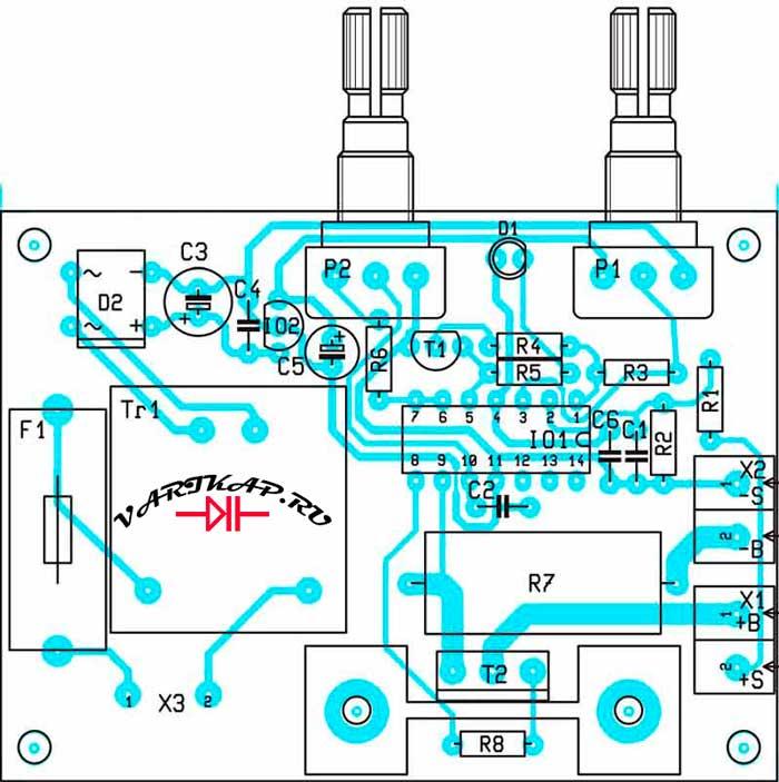 Расположение компонентов нагрузка-разрядник аккумулятора