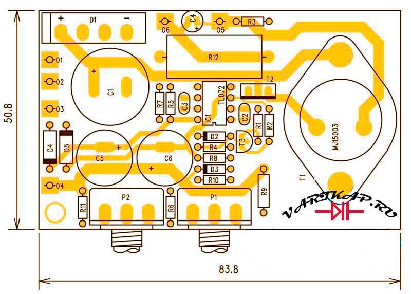 Расположение компонентов блок питания с регулировкой тока и напряжения