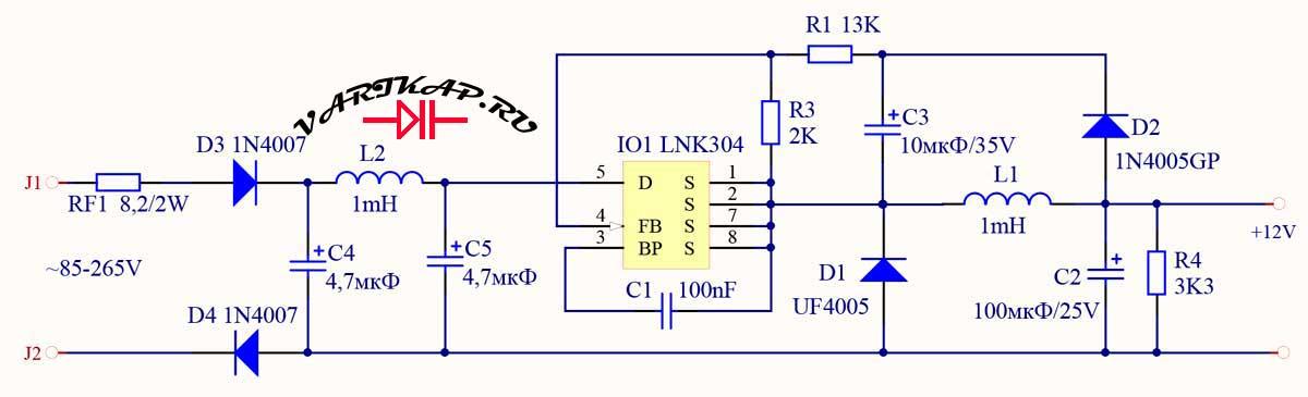 Преобразователь на микросхеме LNK304