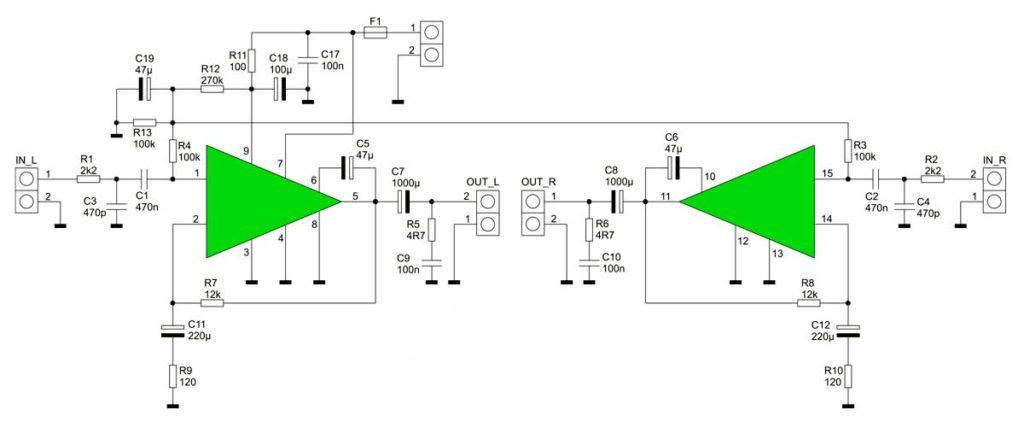принципиальная схема усилитель на сборке STK4392