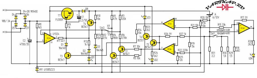 Принципиальная схема зарядное устройство свинцовых аккумуляторов